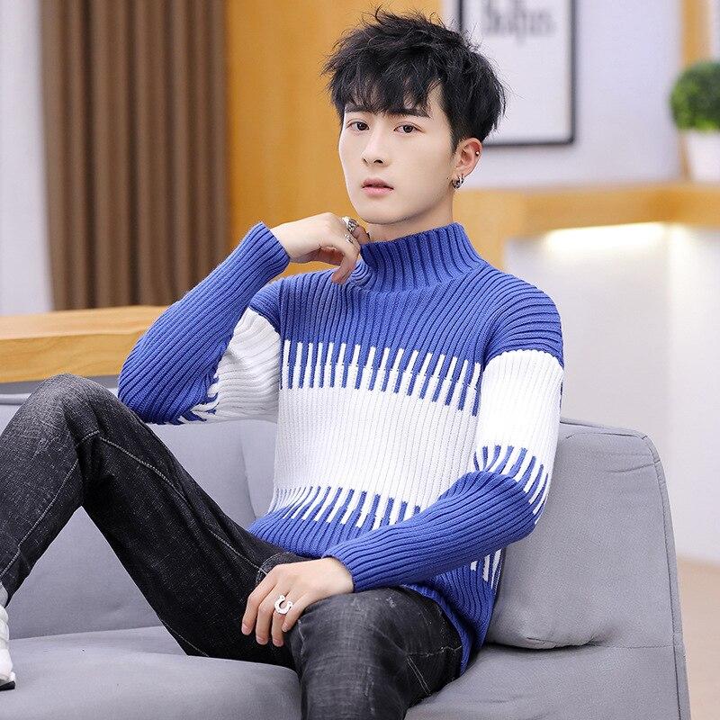 Fashion Men Winter Sweater Turtleneck Pullovers Casual Sweater Dress Long Sleeve Black Blue New Mens Sweater