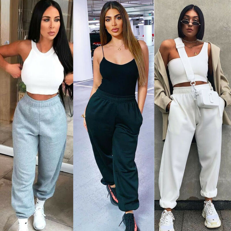 New Fashion Women Oversized Joggers Solid Sweatpants Ladies Bottoms Jogging Gym Pants Lounge Wear