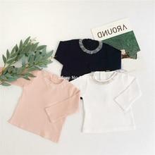 Весна-осень, хлопок, 3 цвета, сетчатые футболки с длинными рукавами для маленьких девочек, детские базовые Топы