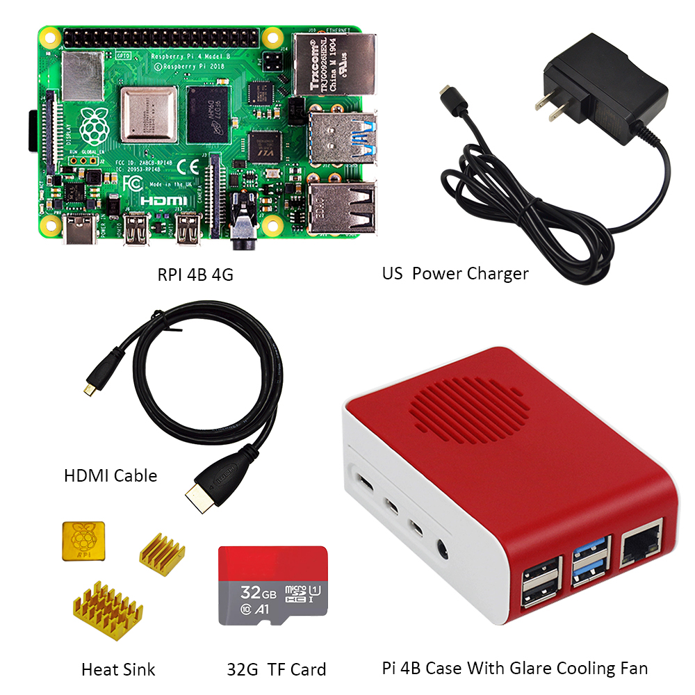 Original Raspberry Pi4 Model B Kit 4GB RAM + case with fan +EU/US/UK Type C 5V/3A Power charger+HDMI cable+32G TF card+ heatsink - 3