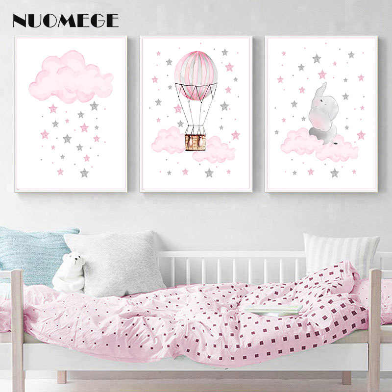 Children Poster Cloud Balloon Baby Nursery Wall Art Canvas Print Painting Decorative Picture Nordic Kid Girl Bedroom Decoration
