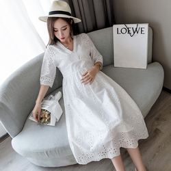 1695# V Neck High Waist Slim Maternity Party Dress Sweet Lovely Hollow Out Cotton Clothes for Pregnant Women Summer Pregnancy