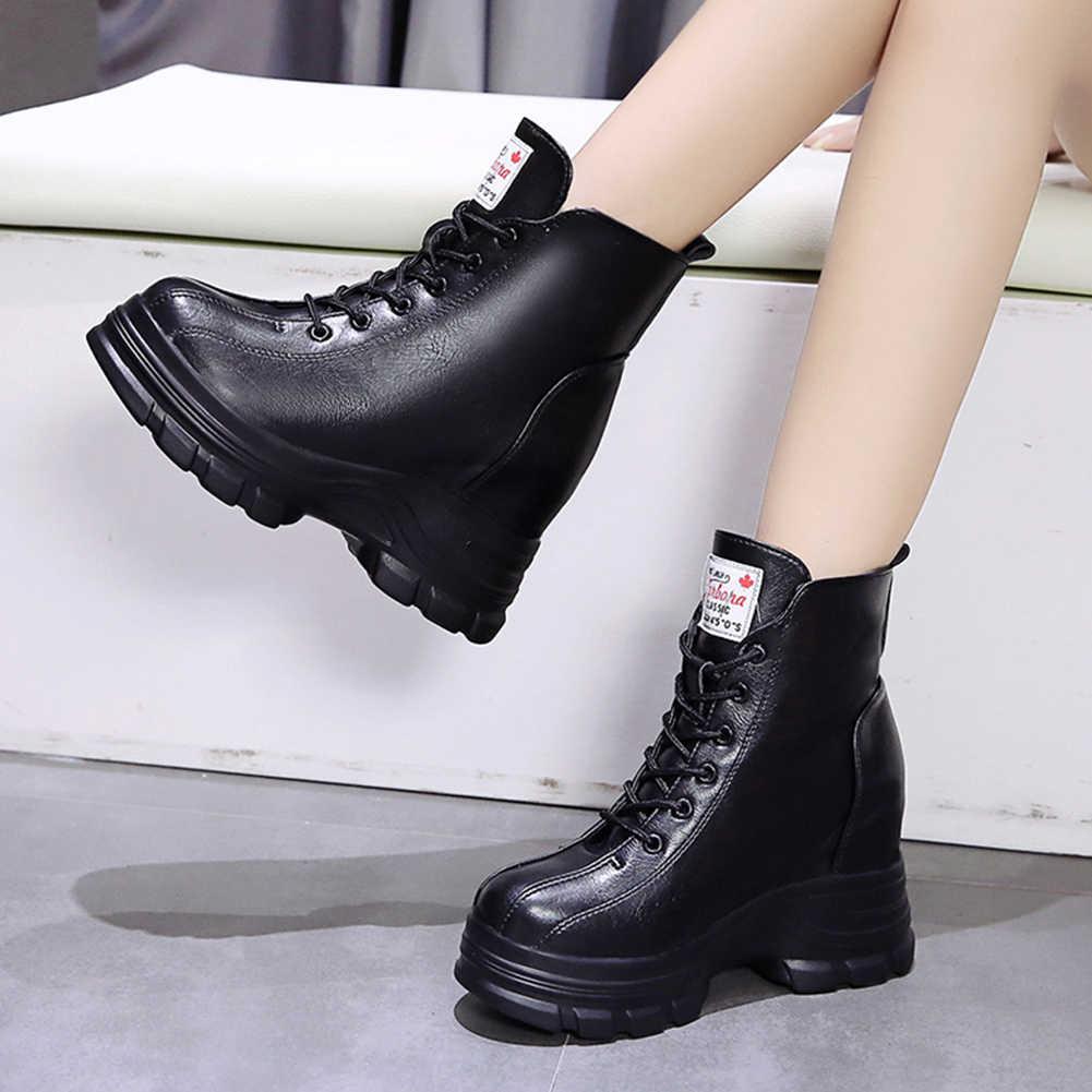 KARINLUNA yeni popüler bayanlar parti ofis çizmeler kadın moda Lace Up sıcak satış yarım çizmeler yüksekliği Incrreasing ayakkabı kadın