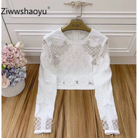 Ziwwshaoyu 2020 New Designer Brand Summer Sexy Sequins Embroidery Hollow Out Tulle White Long Sleeve Tops Tees Women's