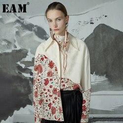 [EAM] Vrouwen Patroon Split Big Size Blouse Nieuwe Revers Lange Mouwen Loose Fit Shirt Mode Tij Lente herfst 2019 1D433