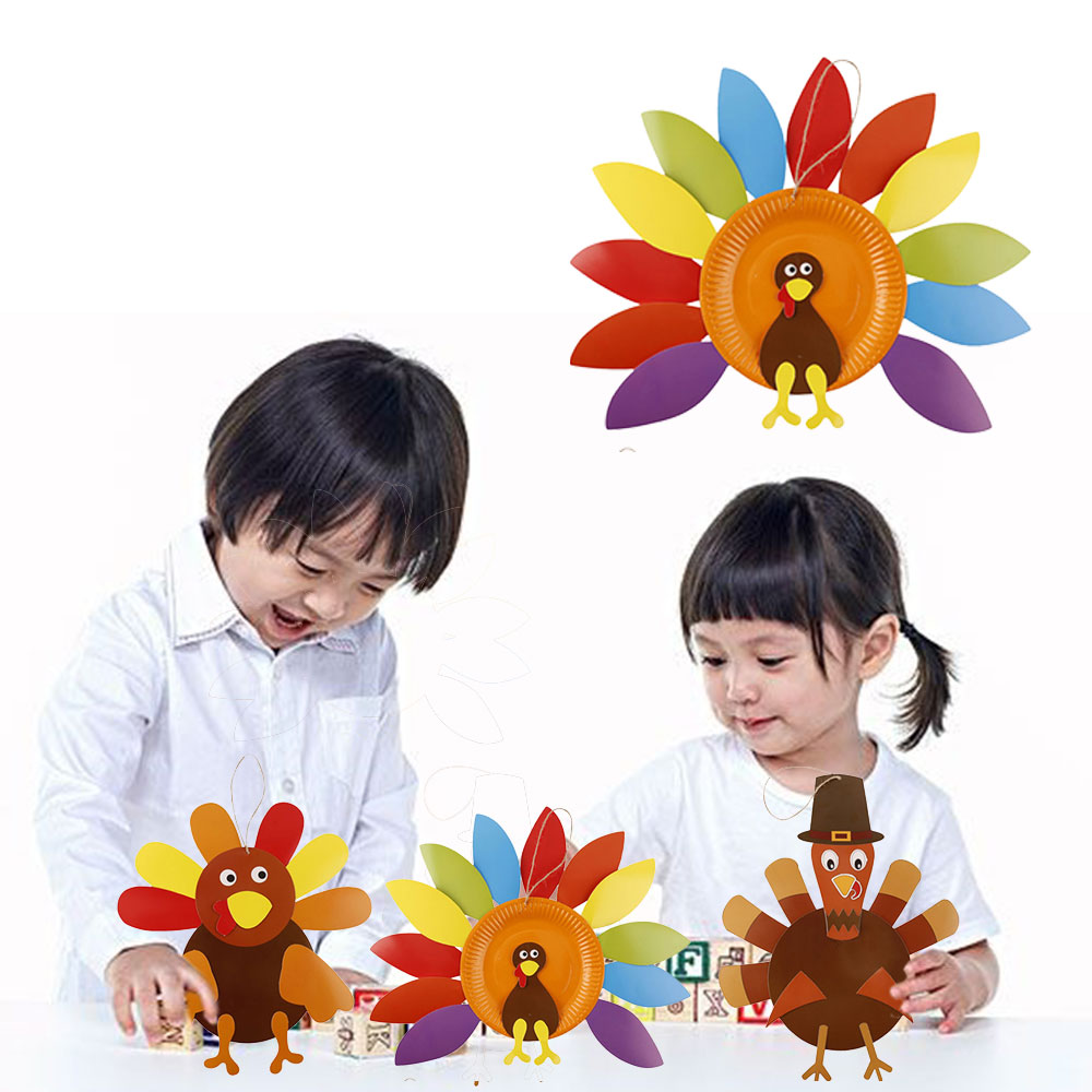 3 Sets Kid Hangmade Toys Paper Tray Hand - Made Paper Tray Painting Toys For Thanksgiving Kindergarten DIY Paste Decoration