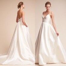 Nuevos vestidos de novia simples sin mangas Deep V blanco marfil Sexy vestido para boda en la playa Vintage novia boda decoración vestidos de fiesta