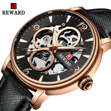 REWARD Luxury Brand Men's Watch Fashion Casual Mechanical Watches Men Hollow Automatic Clock Male Leather Waterproof Sport Watch brand men watch guanqin luxury watches fashion casual sports wristwatches boy mechanical watch leather waterproof clock gj16025