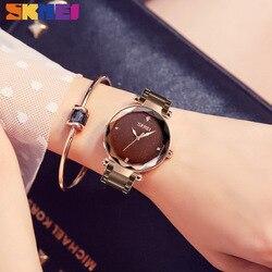 Mulheres SKMEI Relógio Elegante Relógio de Quartzo Top Marca de Luxo Ladies Casual Simples Mulheres Relógio De Pulso de Aço Inoxidável Assista Relogio feminino