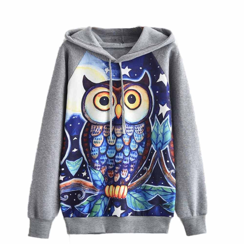 JAYCOSIN Trend Women Cartoon Owl Printed Sweatshirt Casual Simple Long Sleeve Comfortable Soft Solid Color Pullover Tops Blouse