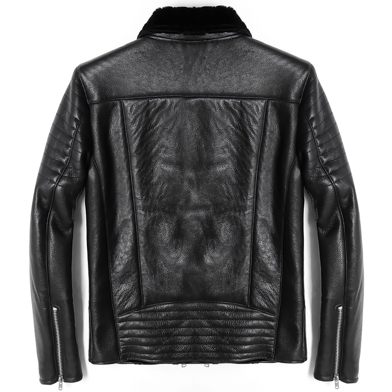 Free Shipping.Mens Plus Size Genuine Leather Jacket.motor Biker Sheep Fur Coat,winter Warm 100% Sheepskin Jackets.soft Shearling