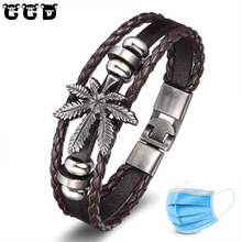 New 2019 Fashion Mens Bracelet Leather Leaf Bracelets Rock Punk Skeleton Charms Cuff Bangles Casual Jewelry Male Accessories