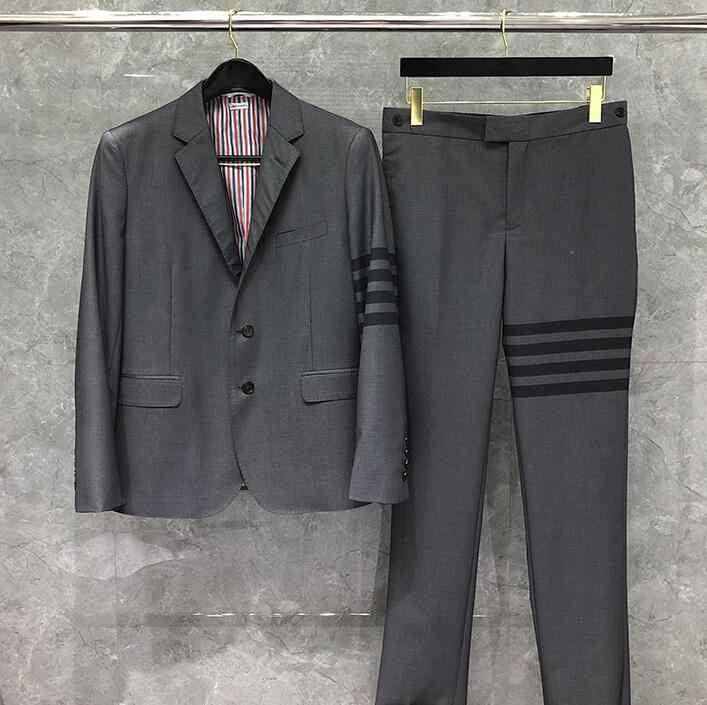 2020 moda TB THOM marka formalny blezer mężczyźni brytyjski garnitur Casual męska kurtka wiosna pojedyncze łuszcz czarny wełniany w paski płaszcz