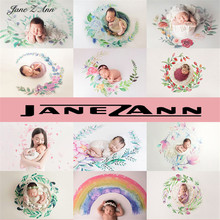 Jane Z Ann yenidoğan suluboya el boyalı çelenk elastik fotoğraf arka plan bez çocuk fotoğraf arka fonu battaniye 12 renk
