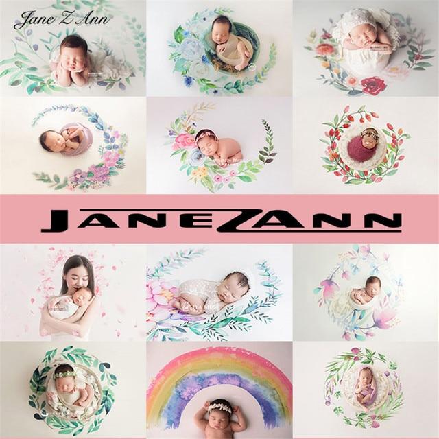 Jane Z Annแรกเกิดสีน้ำมือวาดพวงหรีดยืดหยุ่นผ้าพื้นหลังการถ่ายภาพเด็กฉากหลังผ้าห่ม 12 สี
