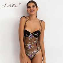 ArtSu Lace Up Sleeveless Club Body Mujer V-Neck Women Sexy See Through Mesh Bodysuit Black Floral Embroidery Bodysuits 2019 red see through lace details sleeveless bodysuits