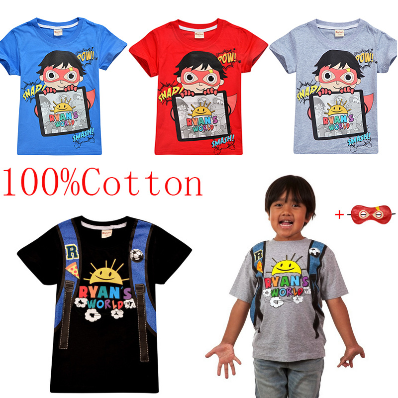 100/% Cotton Ryan Toys Review T-Shirt Children Kids Boys Girls Summer Cotton Tops