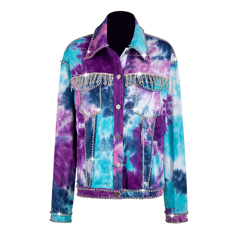 HIGH STREET Newest Fall Winter 2019 Designer Jacket Women's Diamonds Beaded Denim Jacket