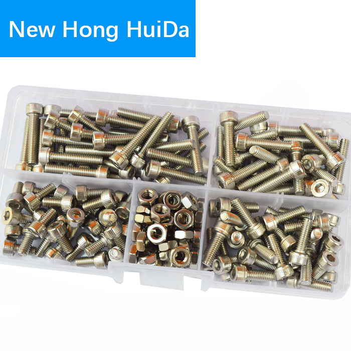 M2 M3 M4 M5 M6 Hex Socket Head Cap Screw Metric Thread Hexagon Allen Head Bolt Nut Set Assortment Kit 304 Stainless Steel|Nut & Bolt Sets| |  - title=