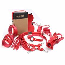 10 pcs bdsm bondage Set Sex Toys for Couples Exotic Accessories Sexy leather Handcuffs Whip Breast Belt Adult Products Red products sexshop 3 pcs set male chastity belt sexy sex toys bdsm bondage restraint set sextoys adult sex game tools for couples
