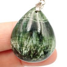 Natural verde seraphinite pingente feminino homem gota de água de cristal cura pedra 31x26x11mm melhor presente colar pingente aaaaa