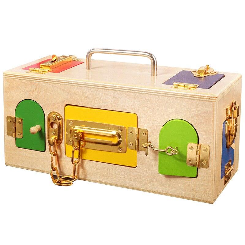 Jouets éducatifs en bois pour enfants compétences de base et de la vie jouet Montessori matériaux vie pratique jouet serrure boîte ouvrir la clé de verrouillage