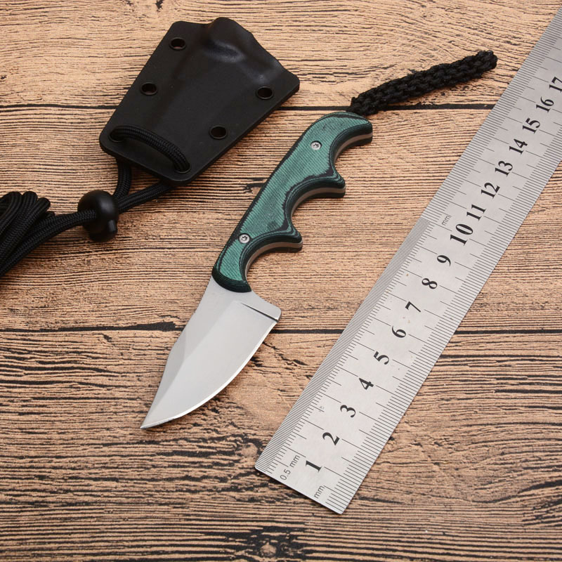 2387 Small Pocket Straight Outdoor Knife 8cr13 Blade Double Color G10 Handle Fixed Knives Tactical Survival Hunting  EDC Tool