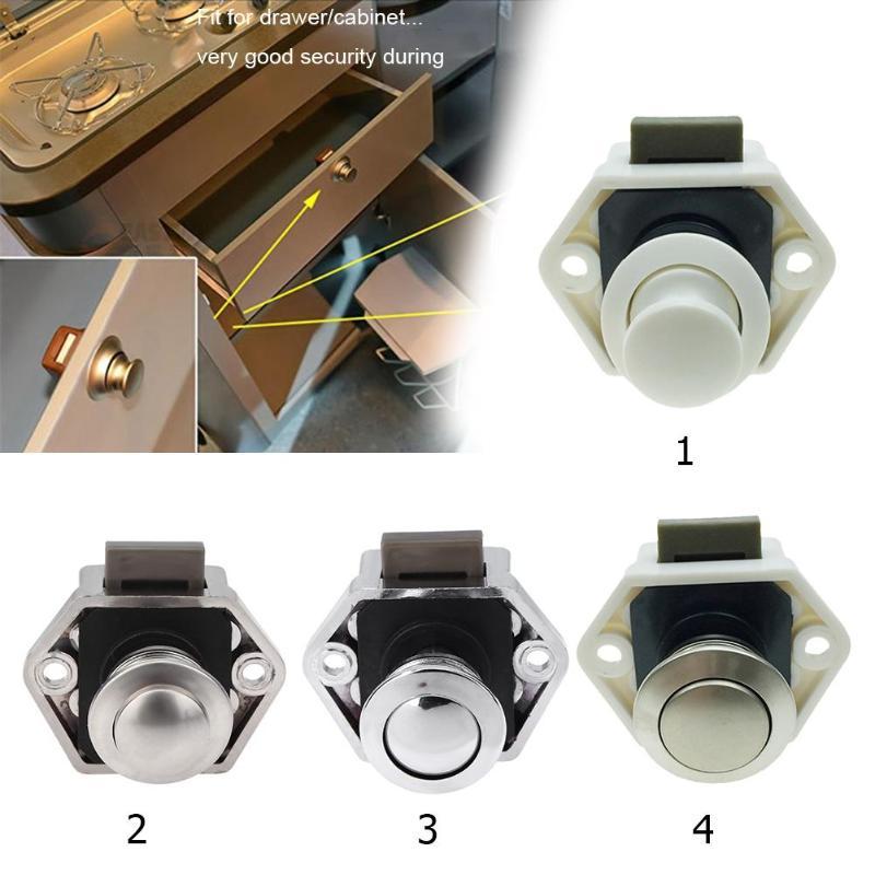 3pcs Car Boat Push Button Locks RV Cabinet Drawer Safety Latc h Lock