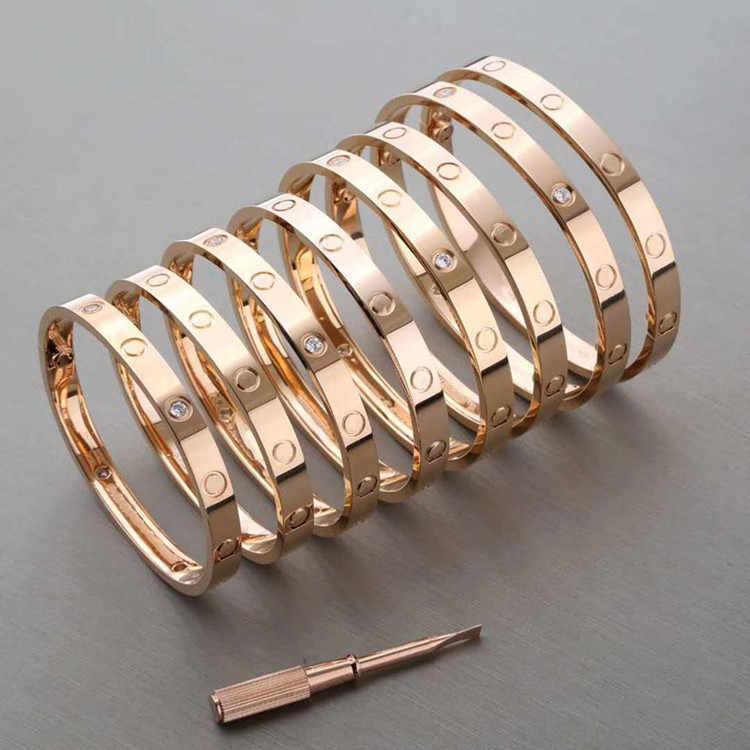 Kobieta bransoletka i bransoletki miłość jedno słowo śruba tytanowa stalowa bransoletka różowe złoto klasyczna bransoletka biżuteria