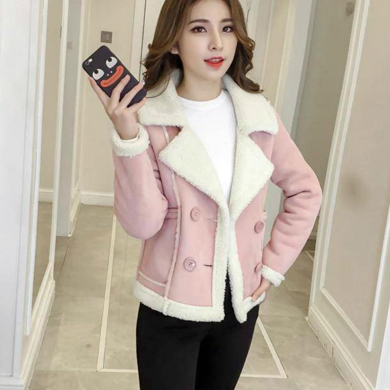 Woman Short Faux Wool Lamb Fur Coat 2020 Autumn Winter New Pink Fur Biker Jacket Female Outerwear Spring Suede Coat