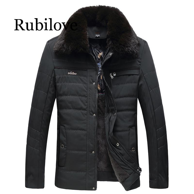 Rubilove Winter Jackets men casual business Thick Warm Parkas Mens Casual Outwear Coat male