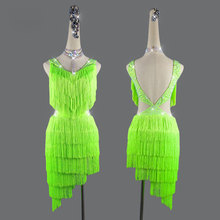 Latin dance performance new professional sexy fringe green dress female competition clothes