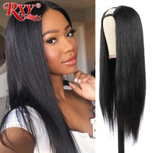U-Part Wig Human-Hair Glueless Straight Hairline Natural Brazilian RXY Can-Be-Permed--Dye