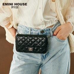 EMINI HOUSE сумка на пояс с ромбовидной решеткой из натуральной кожи, сумка на цепочке, сумки через плечо для женщин, сумка на плечо, дамская сумоч...