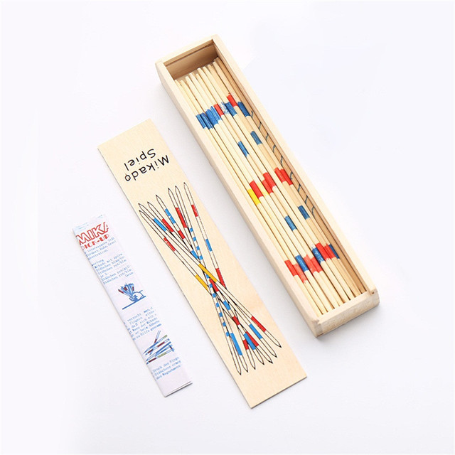 Baby Educational Toys Wooden Traditional Mikado Spiel Pick Up Sticks With Box Game Educational Toys For Parent-child Interaction 3
