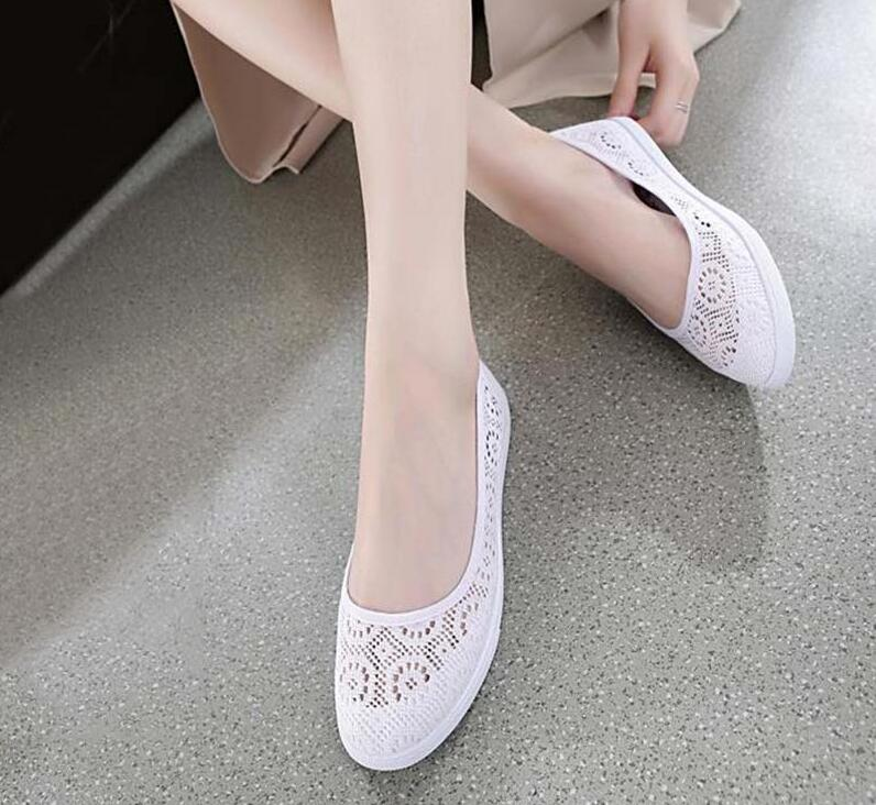 2020new Summer nursing shoes lace canvas shoes women shoes Casual cut-outs Hollow floral breathable platform women's flat shoes image