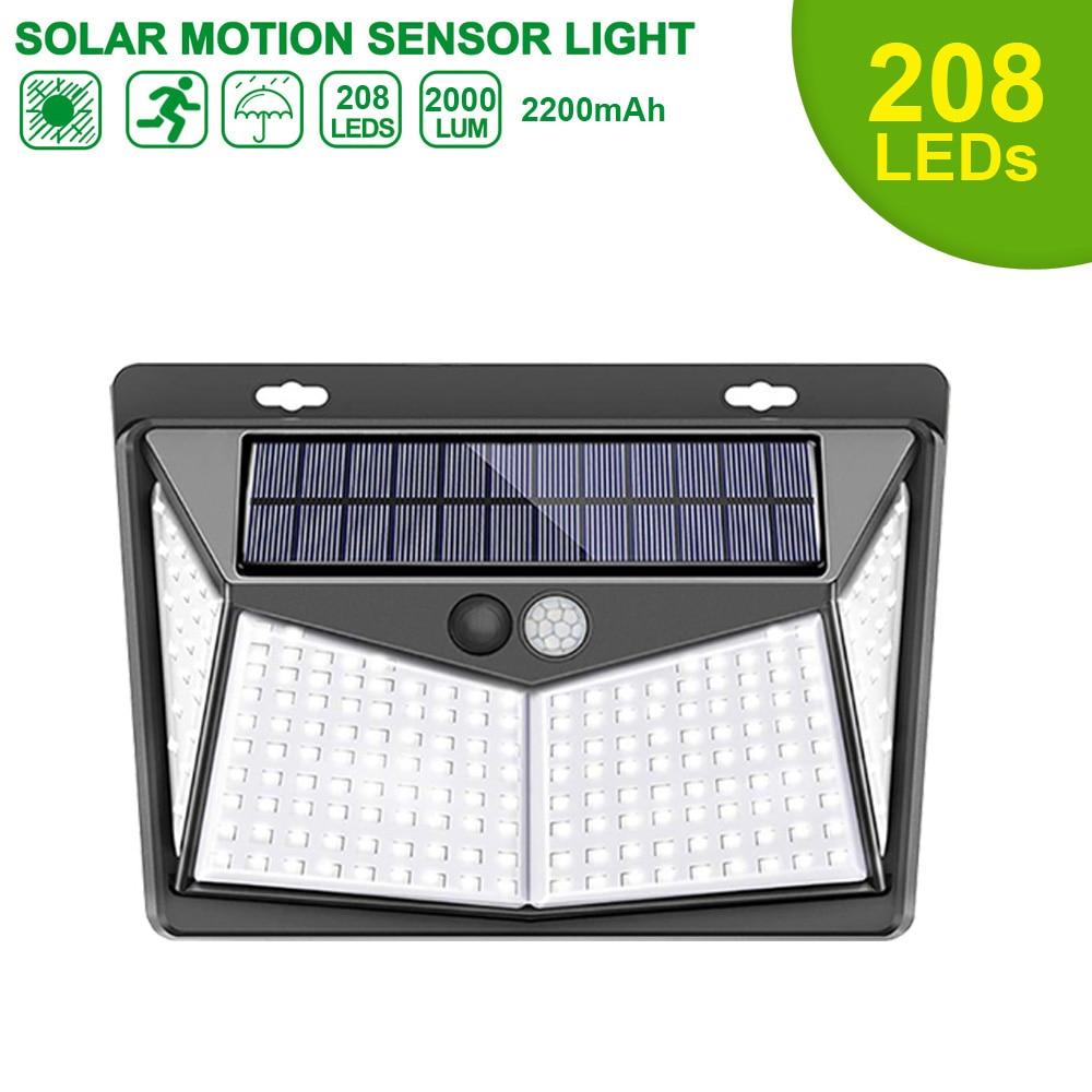 LED Solar Lamp Solar Motion Sensor Lights IP65 Outdoor Street Lights 20/25/30/100/208 Led Security Wall Lamp For Garden Decor
