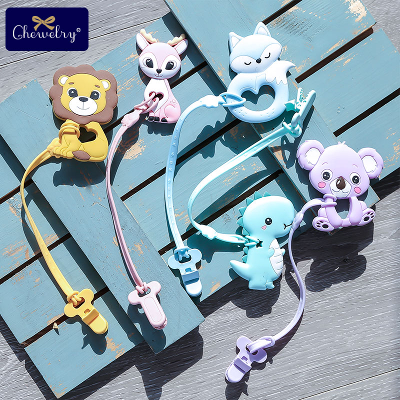 1pcs Silicone Pacifier Chains Baby Teether Pandent Teething Rodent Silicone Beads Pendant Unicorn Fox Nursing Teeth Toys For Kid