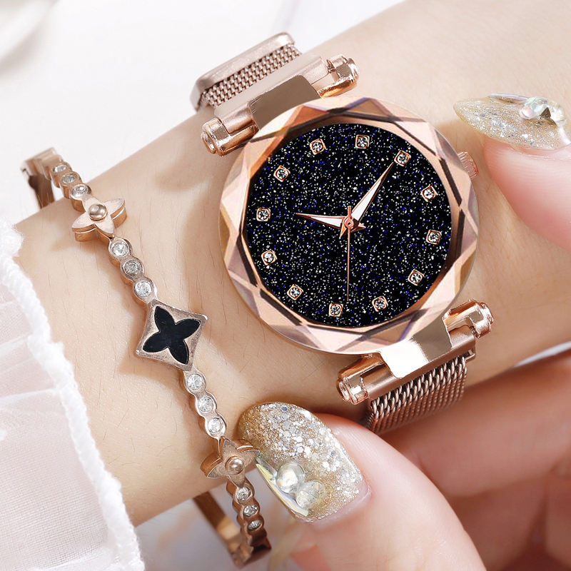 Luxury Rose Gold Women Bracelet Watches Minimalism Starry Sky Magnet Buckle Fashion Clock Roman Numeral Dial Ladies Wristwatch