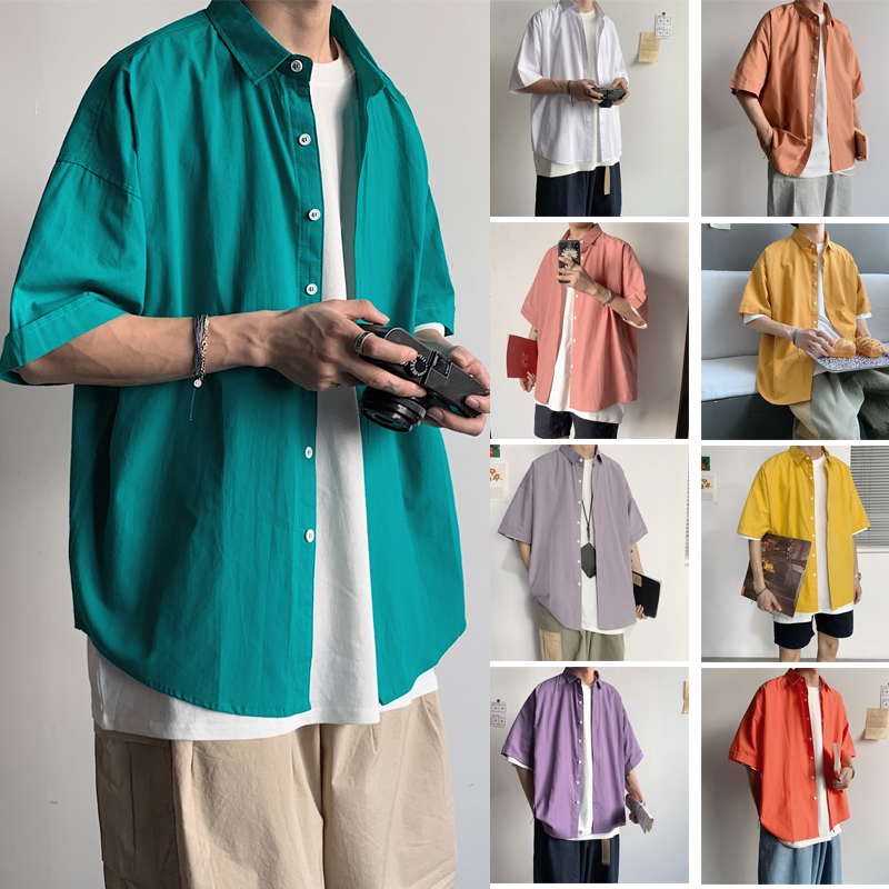 High Quality 2020 Colorful Shirts For Boyfriend Gift Mens Loose Fit Short Sleeve Shirts Button Up Short Sleeve Dress Shirts