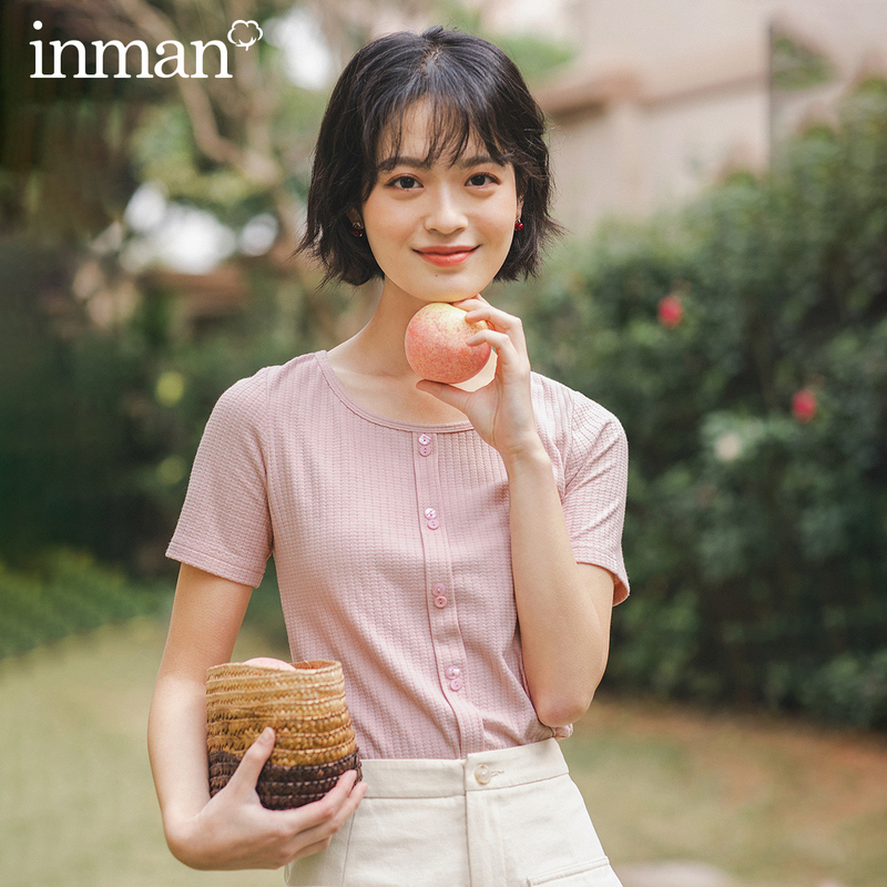 INMAN 2020 Summer New Arrival Causal Sweet Style Short Sleeve Round Collar Cute All Matched Women Girl T-Shirt