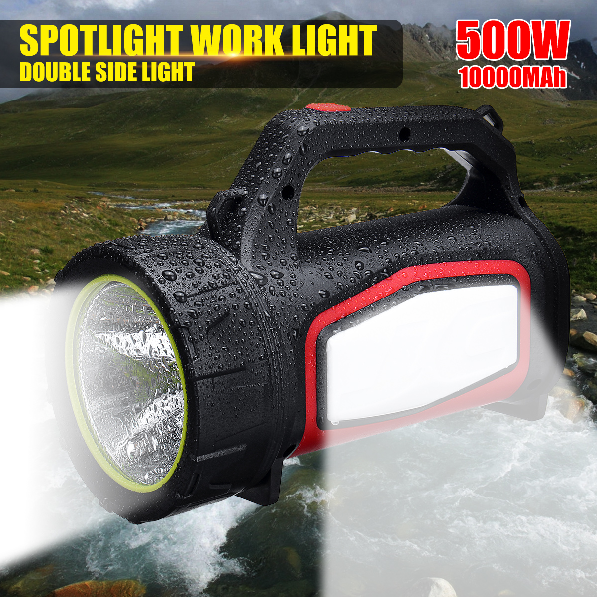 500w Bright Protable Spotlight 3500LM Search Light Hunting Searchlight 10000mAh Built-in Battery Waterproof Camping Lantern