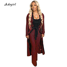 купить Elegant Striped Women Sets Casual Slim Leggings Long Coat Top With Pants Two Piece Set Vintage Office Lady Fashion Women Outfits дешево
