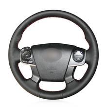 For Toyota Camry 2012-14 hand-sewn steering wheel cover black artificial leather цена 2017