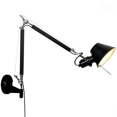 American Industrial Wall Light Black Silver E27 Rotatable Long Arm Wall Lamp with Switch for Bedside Study Office Living Room