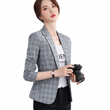 Suit jacket female autumn new fashion slim long-sleeved casual England short paragraph outside the lattice small suit brieuces spring and summer women s beaded small suit slim suit jacket short women s shirt fashion long sleeved jacket