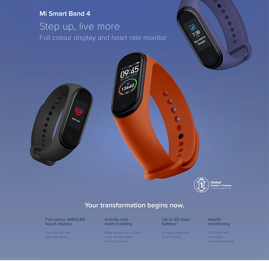 H76ee9fa8fa5143e0baa3949bdc6ddbd6f Xiaomi Mi Band 4 Smart Bracelet 3 Color Miband 4 Smartband AMOLED Screen Fitness Traker Bluetooth Sport Waterproof Smart Band