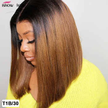 Ishow Ombre Human Hair Wigs Short Bob Human Hair Wigs For Women Brown And Blonde Highlight Wig Straight Ombre Lace Front Wig