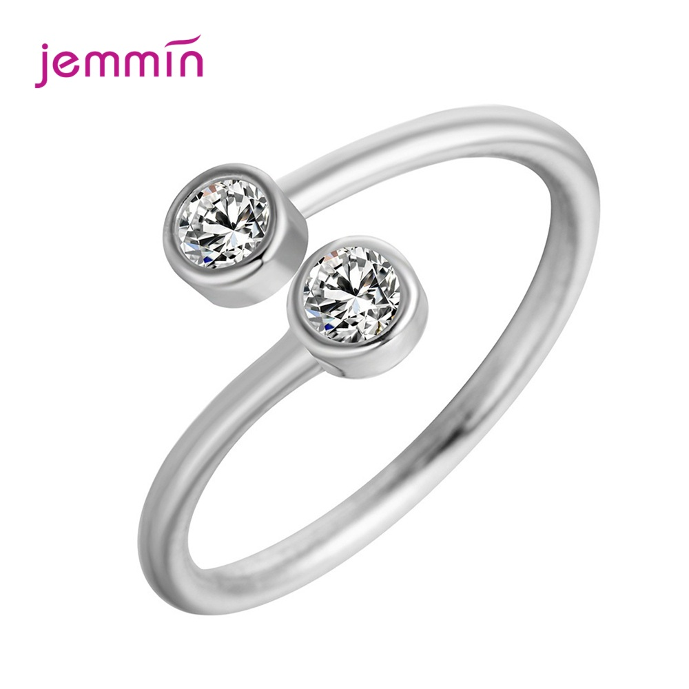 Elegant Open Ring 925 Sterling Silver Adjustable Finger Rings Cubic Zircon Trendy South Korea Hot Female Rings For Women
