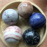 5pcs about 4cm natural quartz crystal sphere lapis lazuli serpentine feldspar pink tourmaline rhodochrosite healing crystal ball
